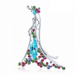 Elegant Lady pattern Brooch with Crystals from Swarovski