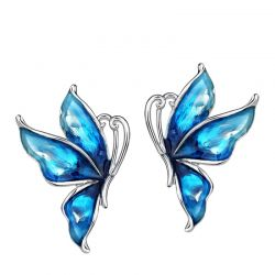 Blue Stoving Varnished Boho Big Enamel Butterfly Stud Earrings For Women