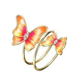 Multilayer Green Light Yellow Gold Color Enamel Butterfly Rings Gifts For Women