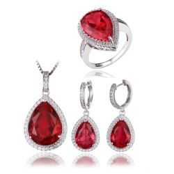 Pear Shape Pigeon Blood Created Ruby S925 Sterling Silver Ring Necklace Pendant Earring WomenJewelry Set