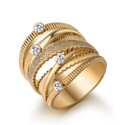 Wide Gold Color Multilayer Hollow Rings for Women