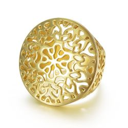 Gold Color Hollow Out Circle Round Big Ring  For Women