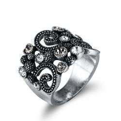 Silver Color Vintage Cocktail Rings for Woman Rhinestone Paved