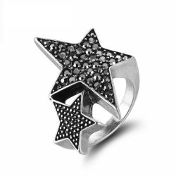 Silver Color Full Star Rings for Woman Trendy Rhinestone