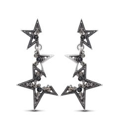 Vintage Silver Color Abstract Star Earrings for Woman Rhinestone Long Dangle Earrings