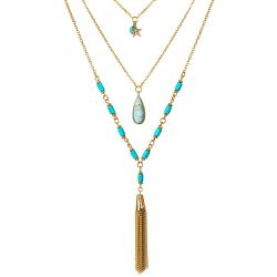 Bohemian Long Multi Layered Chain Necklace for Women Simulated Turquoise