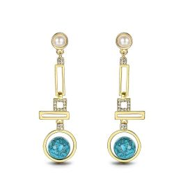 Round Blue Turquoise Gold Color Bohemian Geometric Dangle Earrings for Women