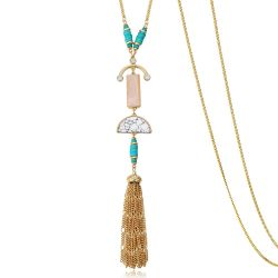 Bohemian Pendant Necklaces for Women Gold Color Long Chains Simulated Turquoise Tassels Acrylic Jewelry