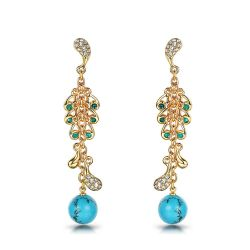 Rhinestone Peacock Feather Gold Color Dangle Earrings for Woman Long Simulated Turquoise