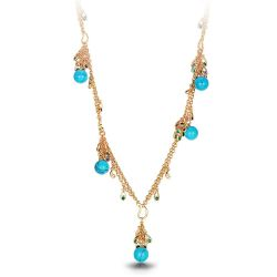 imulated Turquoise Necklace Peacock Feathers Rhinestone Gold Color Chain Necklaces