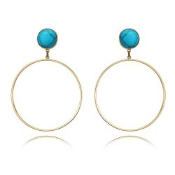 Blue/White Simulated Turquoise Large Circle Light Gold Color for Woman