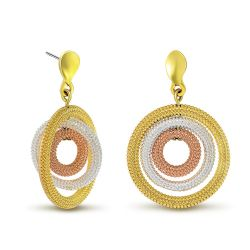 Multicolor Gold/Silver/Rose Gold Color Triple Circles Drop Earring Fashion Jewelry