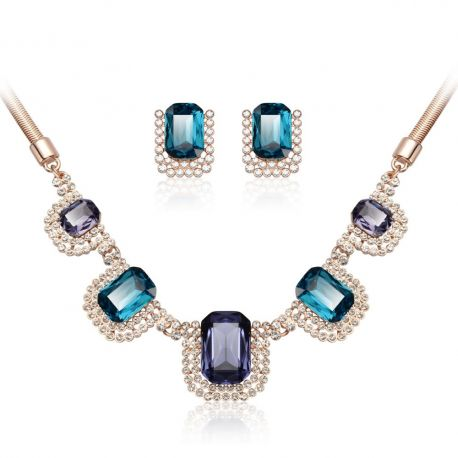 Blue Rhinestone Crystal Earrings & Necklace For Women Gift