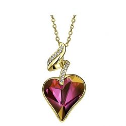 Heart Love Chain Necklaces & Pendants For Women 2017 Austrian Crystal Rhinestones