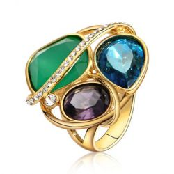 Blue-Green-Purple Crystal Rhinestone Cocktail Ring
