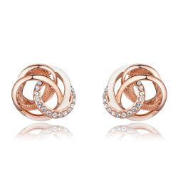 Rose Gold Color Twisted Stud Earrings for Woman Rhinestone White Enamel Crafts