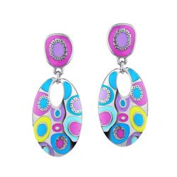 Enamel Colorful Ethnic Bohemian Chandelier Long Round Earrings