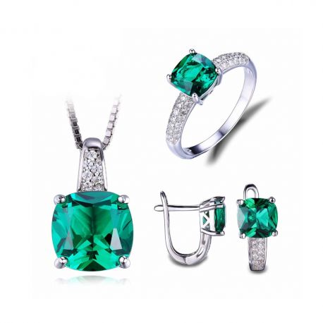 8.7ct Emerald Ring Pendant Clip Earrings Jewelry Set 925 Sterling Silver Fine Jewelry