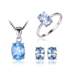Oval 5.8ct Natrual Blue Topaz Ring Stud Earrings Pendant Necklace 925 Sterling Silver Jewelry Sets