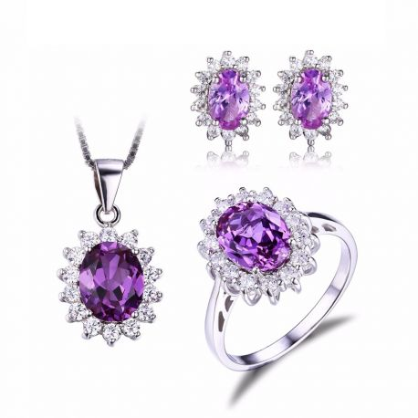 Alexandrite Created Sapphire Jewelry Set 925 Sterling Silver