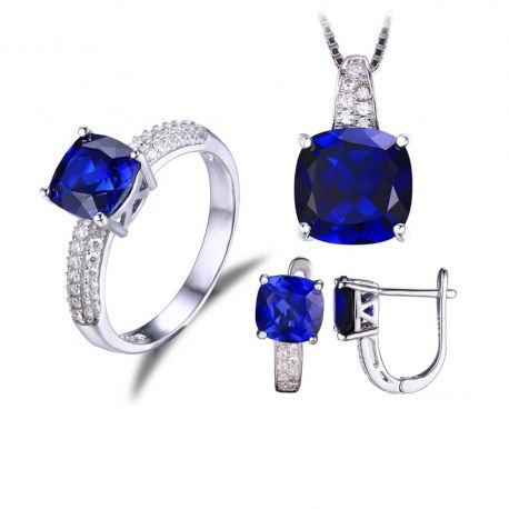 Square Shape Created Sapphire Ring Pendant Earring Clip Jewelry Set S925 Sterling Silver