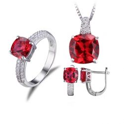 Created Ruby Ring Necklace Clip Earring Jewelry Set 925 Sterling Silver Jewelry Set