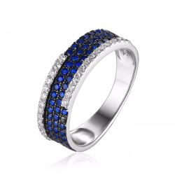 0.81ct Created Blue Spinel Cluster Cocktail Ring 925 Sterling Silver Ring