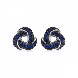0.5ct Created Blue Spinel Flower Wrap  around Cluster Studs Earrings 925 Sterling Silver