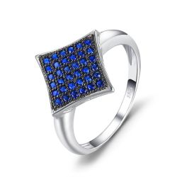 0.35ct Created Blue Spinel Ring S925 Sterling Silver Ring For Women