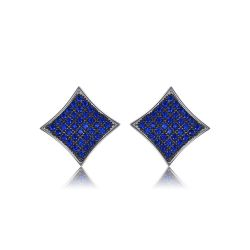 0.7ct Created Blue Spinel Real S925 Sterling Silver Stud Earrings For Women