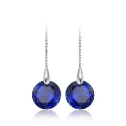 5.6ct Round Created Sapphire Threader Earrings 100% 925 Sterling Silver