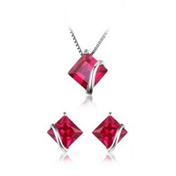 Classic Square 6.1ct Created Ruby Stud Earrings Pendant Necklace 925 Sterling Silver