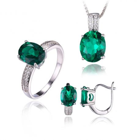 Oval Cut Green Created Emerald Jewelry Set Earring Ring Pendant Necklace 925 Sterling Sliver