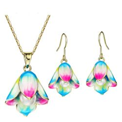 Light Yellow Gold Color Jewelry Sets Flower Simulated Pearl Necklaces Enamel Earrings