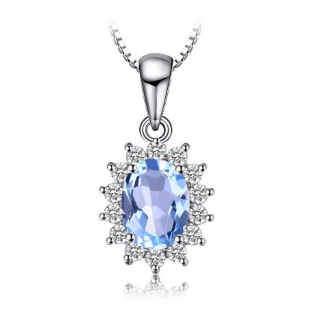 Sale 70 off free shippings925 solid silver made with natural princess diana 29ct natural blue topaz pendants solid 925 sterling silver aloadofball Choice Image