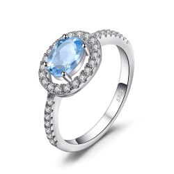Round 1ct Natural Blue Topaz 925 Sterling Silver Ring Fine Jewelry Natural Gemstone