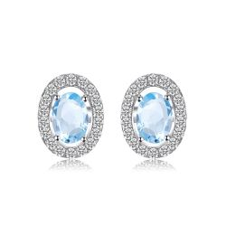 Oval 1.1ct Natural Blue Topaz 925 Sterling Silver Stud Earrings Natural Gemstone
