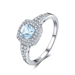 Cushion Cut 0.9ct Natural Aquamarine Halo Engagement Ring 925 Sterling Silver Jewelry
