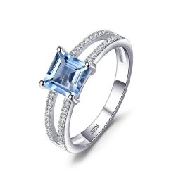 Solid Silver 1.4ct Princess-Cut Sky Blue Topaz Wedding Anniversary Ring For Woman's