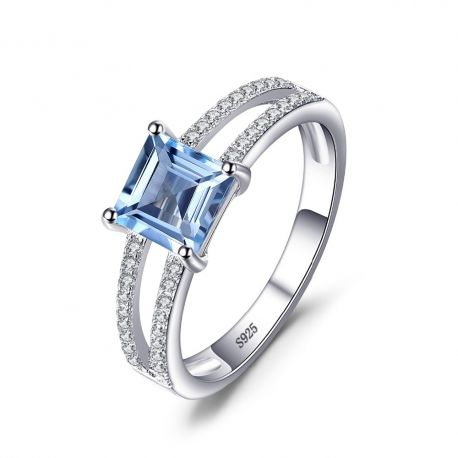 solid silver 1 4ct princess cut sky blue topaz wedding anniversary ring for woman s - 25th Wedding Anniversary Rings