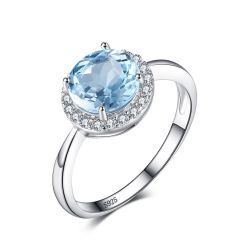 2.7ct Natural Sky Blue White Topaz Halo Solitaire Engagement Ring 925 Sterling Silver