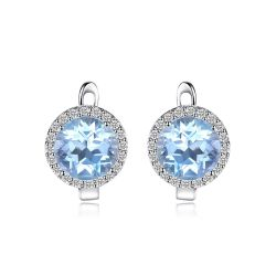 5.4ct Natural Sky Blue White Topaz Halo Stud Earrings Genuine 925 Sterling Silver
