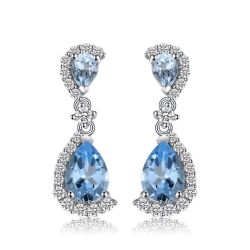 Luxury 6.24 ct Natural Sky Blue Topaz Water Drop Earrings
