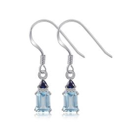 Elegant 2.28 ct Natural Sky Blue Topaz & Created Sapphire Drop Earrings For Women