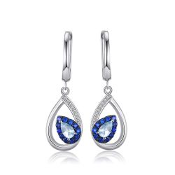 Fashion 1.7ct Natural Sky Blue Topaz Clip Earrings For Woman Genuine 925 Sterling Silver