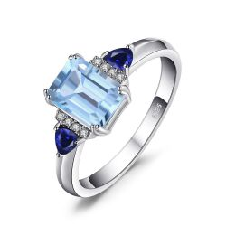 1.5ct Emerald Cut Genuine Sky Blue Topaz Created Sapphire Statement Ring For Women