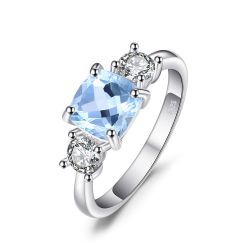 Classic 2.58ct Square Natural Sky Blue Topaz CZ Wedding Ring For Women Soild 925 Silver