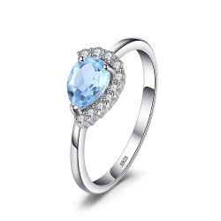 Luxury Brand 2.53 ct Water Drop Natural Sky Blue Topaz Ring Solid 925 Sterling Silver