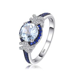 Genuine Sky Blue Topaz Created Sapphire 3 Stones Ring 925 Sterling Silver