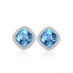 Vintage 1.43ct Square Natural Blue Topaz Stud Earrings 100% 925 Sterling Silver